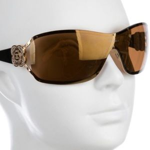 CHANEL Jewel Accented Metal Shield  Sunglasses